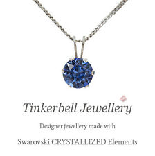 18 Inch Sterling Silver Necklace w 6mm Solitaire Swarovski Sapphire Blue Crystal