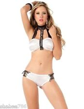 ZX 2062 White Black Bikini Halter Swimsuit LINGERIE GoGo Dancer Sexy Rave S M L