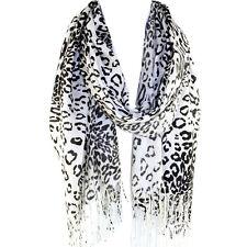 Leopard Animal Print Pashmina Soft Shawl Scarf Stole White Black