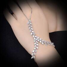 Zircon Hand Chain Bracelets Adjustable Link Finger Ring Wedding Bridal Gift R979