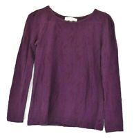 Ann Taylor Loft Womens Medium Purple Longsleeve Top Crew Neck Cotton Blend