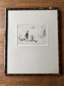 Eileen Soper Original Etching, Signed, Artist's Proof, 'The Squirrel', Framed