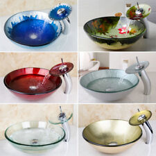 Round Tempered Glass Bathroom Vanity Vessel Sink With Waterfall Faucet Sets