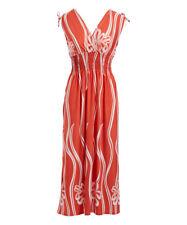 Size 14 Midi Dress Coral & White Floral Cap Sleeve Surplice Neck BNWT #B-1100
