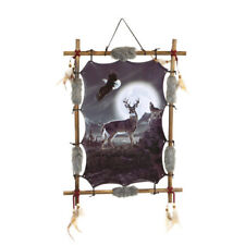 """22""""x16"""" Night Deer Eagle Moon Wolf Dream Catcher Wall Decor Feathers Wood Frame"""