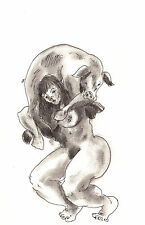 BBW Female Nude Carrying a Pig Surreal Odd signed print WHO'S WHO IN ART listed