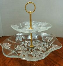 Vintage 2 Tier Glass Server Tray / Tidbit Tray with Handle,  Frosted Flowers