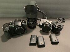 Panasonic GH5, Sigma 18-35 Canon, Viltrox Ef-m1, LUMIX 25mm, 3 Batteries Charger
