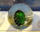 Impressive Large Glass Paperweight Controlled Bubbles Green Center VtgAntique