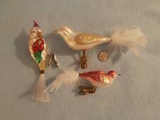 3 Vintage Antique Figural Blown Mercury Glass Clip On Bird Christmas Ornaments