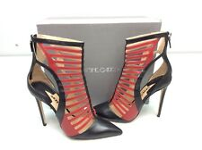 Racine Carree Strappy High Heel Dress Sandal Closed Toe Black Red Size 40