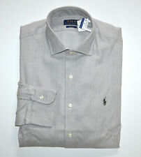 NWT Men's Ralph Lauren Casual Long-Sleeve Spread Shirt, Slim Fit, Gray L, Large