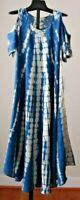 NWT SACRED THREADS Rayon Denim Tie Dye Cap Sleeves Slit  Boho Gypsy  Dress SM