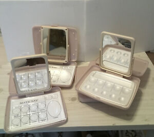 Vintage Mary Kay Travel 2-Sided Mirror Make-up Tray Case in Pink LOT OF 5