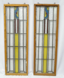 """PAIR of AESTHETIC MOVEMENT STAINED GLASS SKYLIGHT ~ 15"""" x 46"""""""