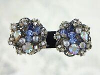 Vintage Signed Robert Silver Filigree Rhinestone Pearl Earrings - Haskell Style