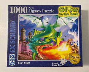 Fiery Flight - 1000 Pc Glow in the Dark Jigsaw Puzzle by FX Schmid - Complete!