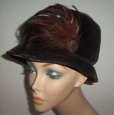 Vintage 1960s SKYWOOD ORIGINAL Brown Velvet Women's Hat