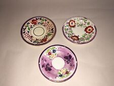Staffordshire Pink Luster Cup Plate Lot Of 3 With Florals Enamel 1840's