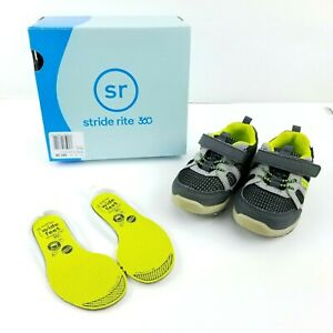 "Stride Rite 360 Toddler Boy Shoes ""Artin 2.0"" Hook & Loop Grey & Neon - Size 6M"