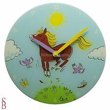 NeXtime 'Jump For Joy' Novelty Wall Clock - 30cm - BNIB - horse pony gymkhana