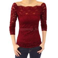 Fashion Women Off Shoulder Slash Neck Long Sleeve Lace Tops T-Shirt Blouse L5Z7
