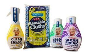 Clean Freak Variety Cleaning Bundle: 1 Starter +2 Refills+ 8 Reusable Cloths