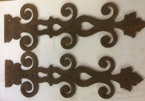 Pair Early Lg Ornamental Iron Hinge Straps with Cutouts and Curled Scrolls~ HW29