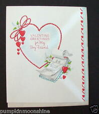 #G608- Vintage Unused Valentine's Day Greeting Card Pretty Hearts for Boyfriend