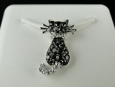 10K Ladies Pussy Cat Black Diamond Charm Pendant .40 Ct
