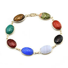 14K Yellow Gold Scarab Bracelet With Oval Gemstones 7.25 Inches