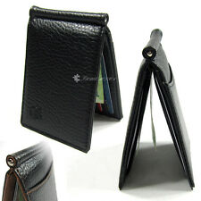 Slim Bi-fold Money Clip Black Synthetic Leather ID Card Pocket Slots Wallet