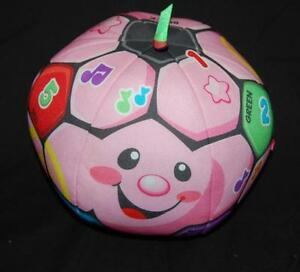 Fisher Price Laugh Learn Pink Talking Soccer Ball  Colorful Plush Stuffed Toy