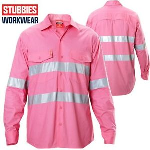 Stubbies Long Sleeve - Size 2XS - Pink Hi Vis Shirt ** Half Price **CLEARANCE