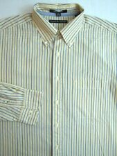 Tommy Hilfiger Dress Shirt Size 17 - 34/35 Light Yellow Blue Stripes Men Regatta