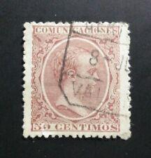 SELLO CLASICO ESPAÑA USADO 1889 ALFONSO XIII PELON 50 CTS. EDIFIL 224. VALENCIA