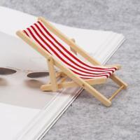 Dollhouse Miniature 1:12 Striped Wooden Beach Chairs Garden Chair AU