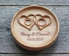 Wood Wedding ring bearer box alternative, Wedding ring pillow holder dish plate.