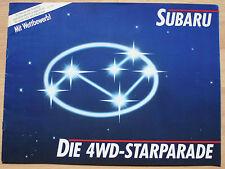 très rare Catalogue Gamme/Range Subaru - Suisse 1986 16p - XT Coupé 4WD Justy