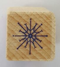 Wood Backed Rubber Stamp Holiday Christmas Snowflake