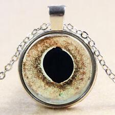 Vintage Cabochon Tibetan Silver Glass Chain Pendant snake Necklace E