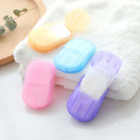 20 Pcs Portable Outdoor Travel Soap Paper Washing Hand Bath Clean Scented Slice