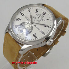 43mm parnis white dial Roman numerals date power reserve automatic mens watch