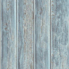 Rustic Wood Faux Textured Plank Panel Blue Vinyl Feature Wallpaper J86801
