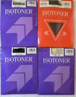 4 Lot Isotoner Silky Sheer Pantyhose Size 3 Black, Camel, Mocha, Linen Vtg *h
