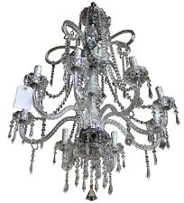 Large Vintage Maria Teresa Style Crystal & Glass 8-Light Three Tier Chandelier