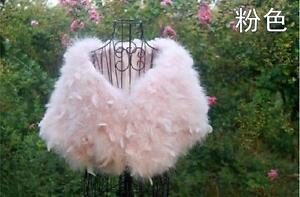 Women's Coats Ostrich Feather Furry Fur Bolero Shawl Cloak Wedding Bolero Brida