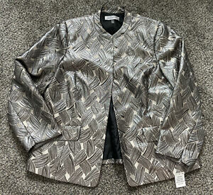 NWT New Women's Kasper Champagne Gray Metallic Plus Dress Jacket Size 14W