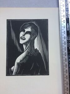 Expressionist Wood Engraving print of a woman by Lynd Ward