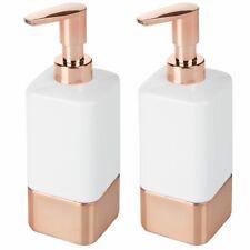 mDesign Square Ceramic Refillable Soap Dispenser Pump, 2 Pack - White/Rose Gold
